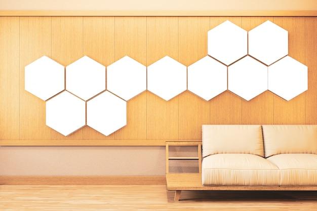 Quarto ryokan com luz hexagonal na decoração de parede e piso de tatame. renderização 3d