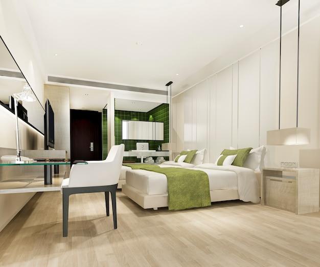 Quarto suite de luxo verde moderno e banheiro e mesa de trabalho