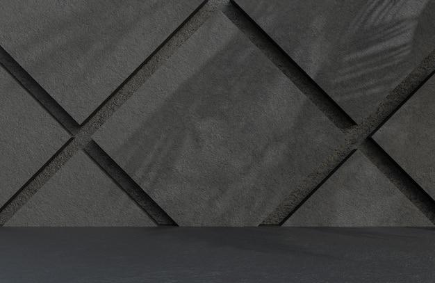 Quarto vazio abstrato preto parede de pedra estilo textura grunge., modelo 3d e ilustração.