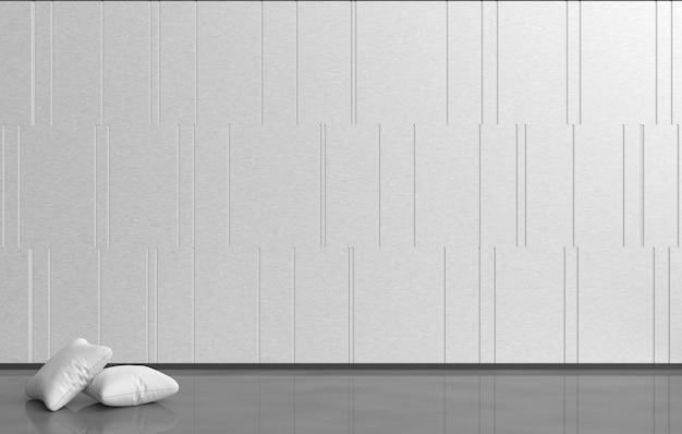 Quarto vazio branco-cinza são decoração com almofadas brancas, parede de cimento, padrão de grade.