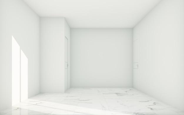Quarto vazio branco com janelas e luz solar e piso de ladrilhos de pedra branca. renderização 3d