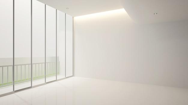 Quarto vazio branco e varanda para obras de arte, terior 3d
