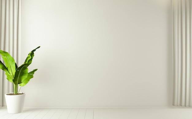 Quarto vazio branco em plantas de decoração e design de interiores de piso de madeira branco. renderização 3d