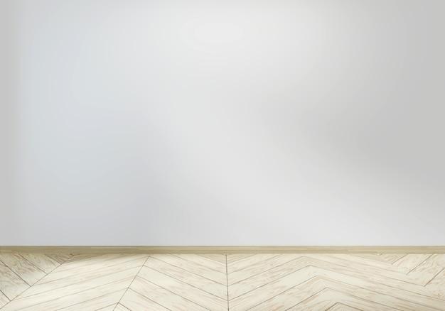 Quarto vazio branco no design de interiores de piso de madeira