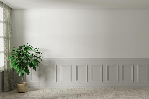 Quarto vazio branco simulado com janela branca, cortina marrom e piso de madeira.