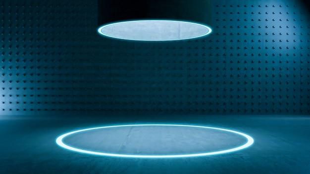 Quarto vazio, círculo claro flooor simulado e quarto de concreto. fundo abstrato da arquitetura.