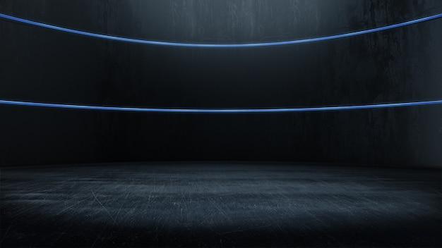 Quarto vazio, com brilho de luz, espaço abstrato. renderização 3d