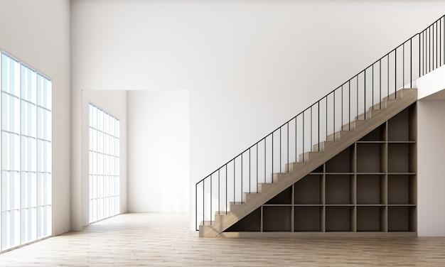 Quarto vazio com escada e janela