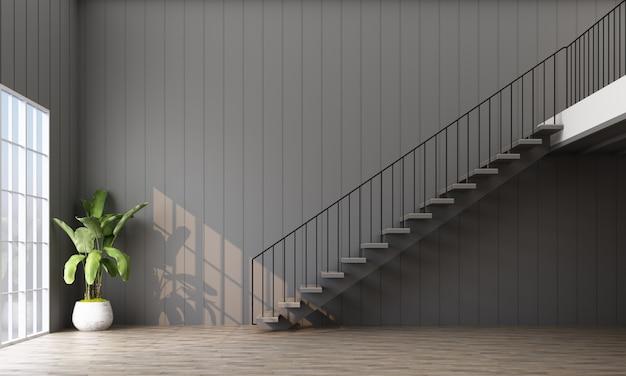 Quarto vazio com escada, planta e janela