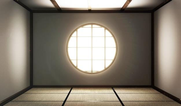 Quarto vazio com esteiras de tatame e janela de papel na sala zen style.3d rendering