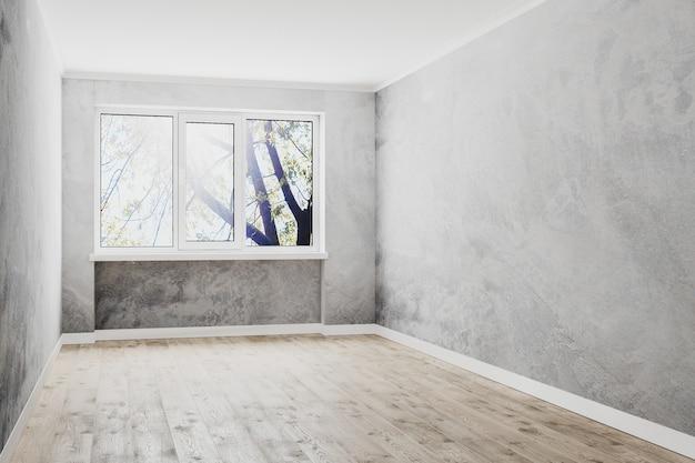 Quarto vazio com janela, paredes decorativas vazias de gesso e piso de madeira