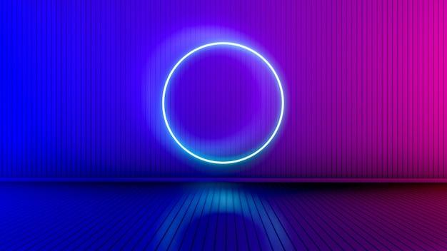 Quarto vazio com linhas brilhantes. fundo interior com linhas brilhantes. luzes de neon. renderização 3d