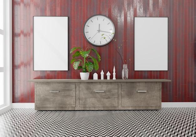 Quarto vazio com maquete de duas telas em branco. parede de madeira vermelha