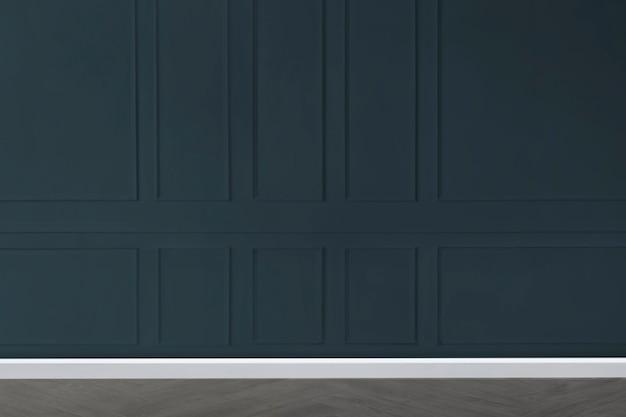 Quarto vazio com maquete de parede estampada em azul