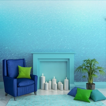 Quarto vazio com papel de parede de textura de água azul na parede, lareira, velas, poltrona, travesseiros, tapete e planta. interior escandinavo. . ilustração 3d render.