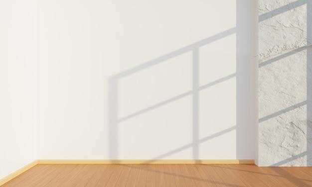 Quarto vazio com parede branca, fundo de arquitetura interior minimalista, ilustração 3d
