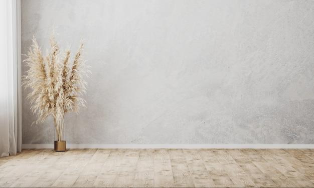 Quarto vazio com parede cinza e piso de madeira