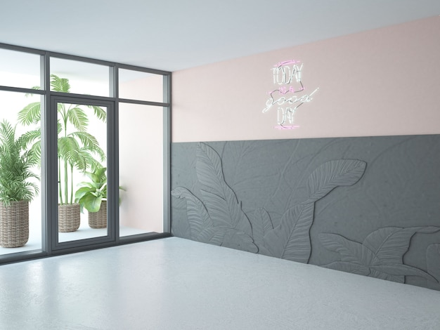 Quarto vazio com parede rosa e preta e janela alta
