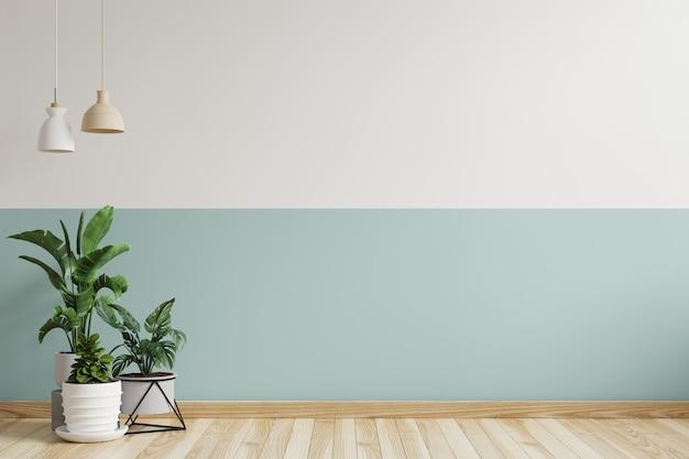 Quarto vazio com um abajur pendurado na lateral e um vaso de plantas no chão