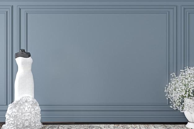 Quarto vazio com vestido de noiva e parede cinza