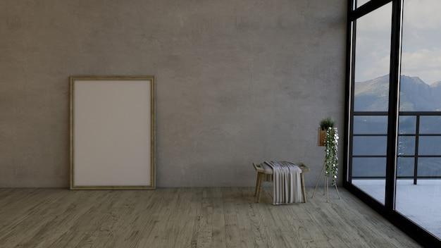 Quarto vazio contemporâneo de 3d e frame de retrato