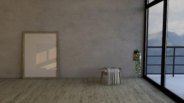 Quarto vazio contemporâneo de 3d e moldura para retrato