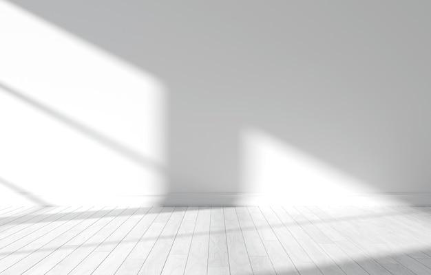 Quarto vazio de luz branca. ilustração 3d