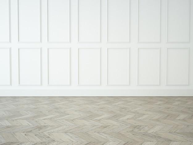 Quarto vazio elegante com parede moldada e parquet de madeira