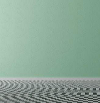 Quarto vazio interior com parede verde, ilustração 3d
