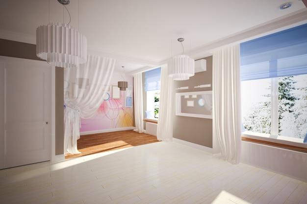 Quarto vazio interior em estilo moderno. design de interiores