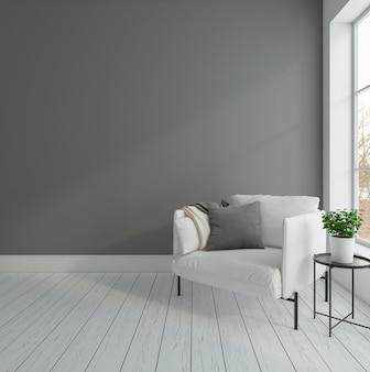 Quarto vazio minimalista com poltrona e renderização 3d em parede cinza