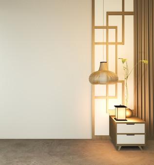 Quarto vazio moderno, estilo japonês de design minimalista.