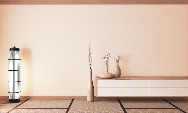Quarto vazio muito zen com armário de madeira e vaso de madeira de decoração, tom de terra. renderização 3d
