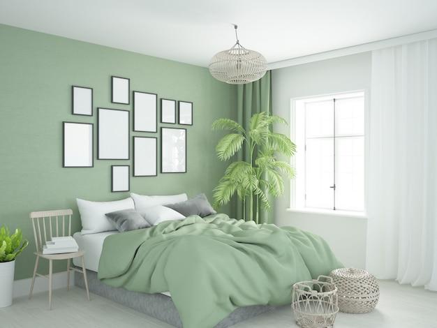 Quarto verde natural com cama aconchegante