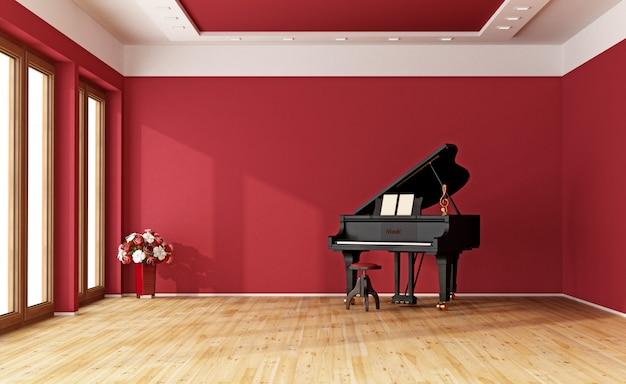 Quarto vermelho com piano de cauda
