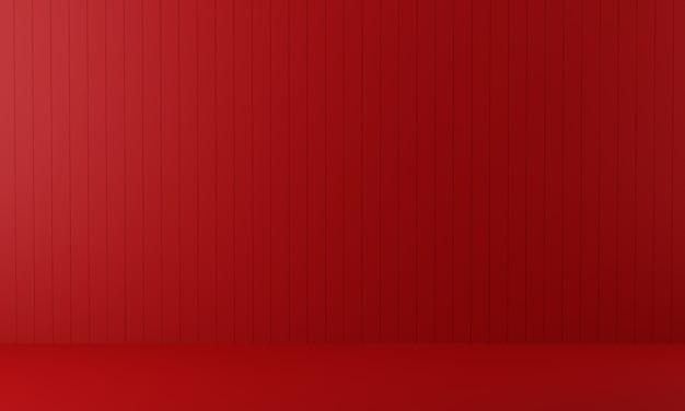 Quarto vermelho vazio. 3d rendem.