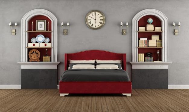 Quarto vintage com quarto clássico e nicho com livros e objetos de decoração
