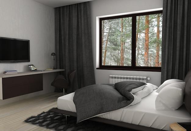 Quarto, visualização interior, ilustração 3d