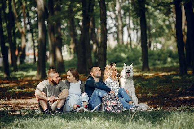 Quatro amigos têm um descanso em uma floresta