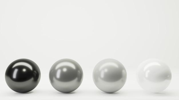 Quatro bolas branco preto cinza