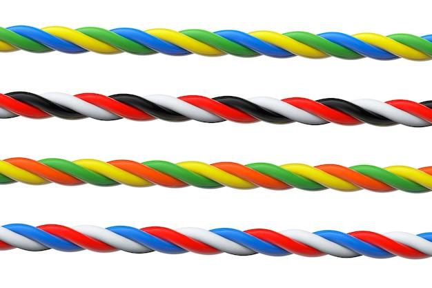 Quatro cabos de computador multicoloridos em um fundo branco