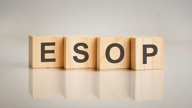Quatro cubos de madeira com as letras esop. conceito de marketing empresarial