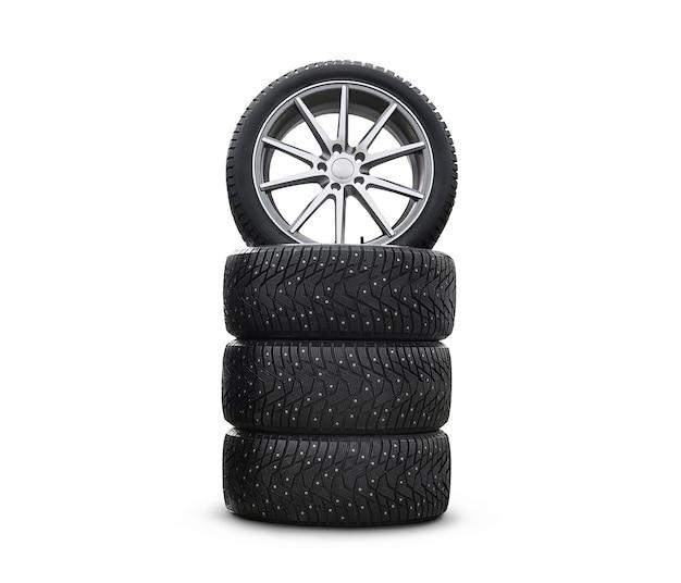 Quatro novos pneus de neve bonitos isolados no fundo branco. um conjunto de pneus de inverno cravejados. um conjunto de rodas e pacotes de pneus. peças da roda. serviço de pneus