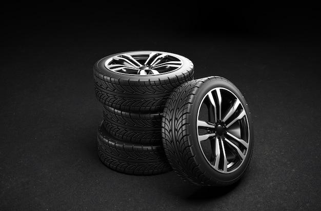 Quatro rodas de carro na calçada. ilustração de renderização 3d.