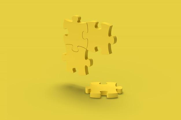 Quebra-cabeça amarela sobre um fundo amarelo