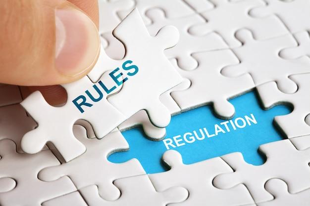 Quebra-cabeça branco com a palavra regras e regulamentos. conceito de negócios