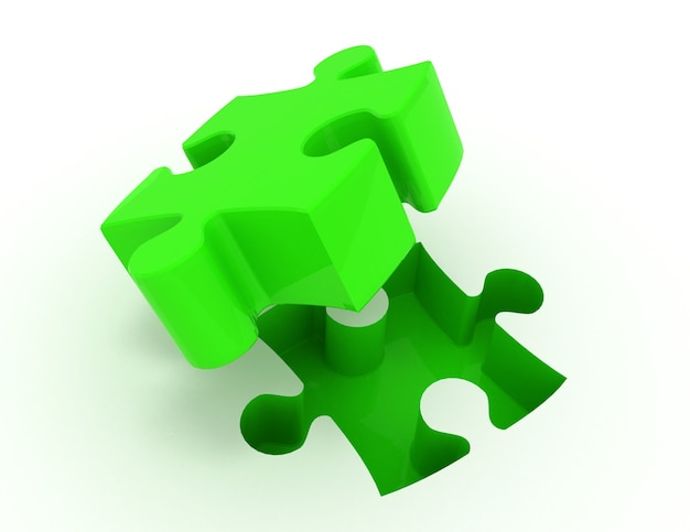 Quebra-cabeça. conceito de ilustração 3d de negócios