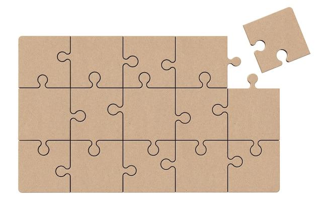 Quebra-cabeça de papelão em um fundo branco