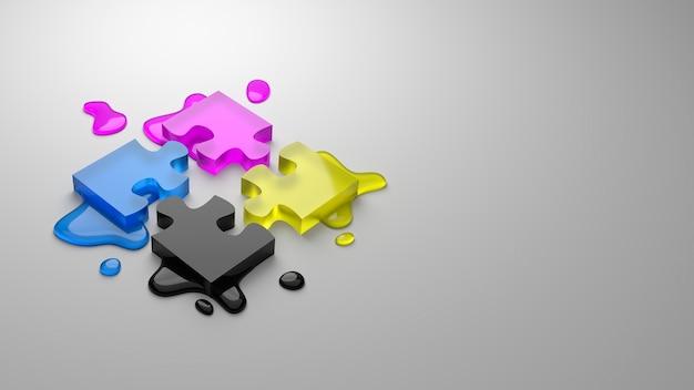 Quebra-cabeça de processo de quatro cores cmyk isolado