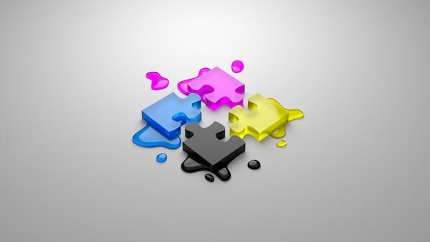 Quebra-cabeça de processo de quatro cores cmyk